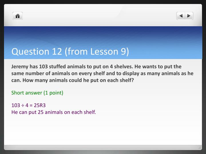 Question 12 (from Lesson 9)