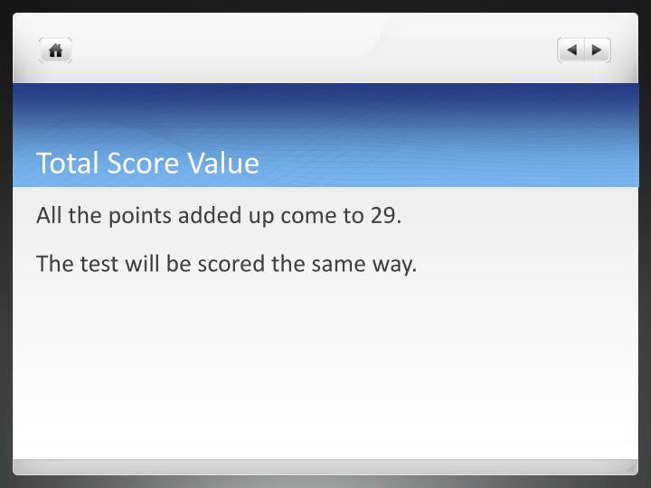 Total Score Value