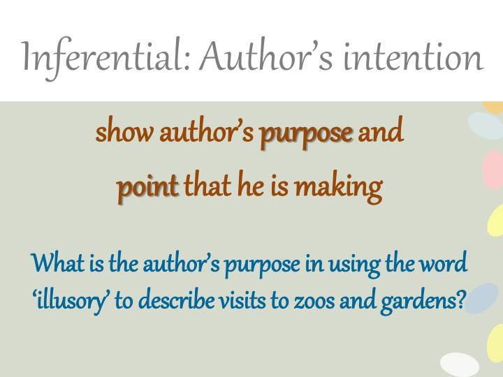 Inferential: Author's intention