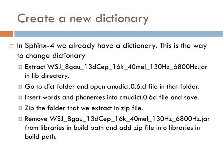 Create a new dictionary
