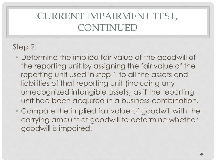 goodwill impairment essay Reversing an impairment loss for goodwill 124 – 125 disclosure 126 – 133 estimates used to measure recoverable amounts of cash-generating units containing goodwill or intangible assets with indefinite useful lives 134 – 137 appendix: a.