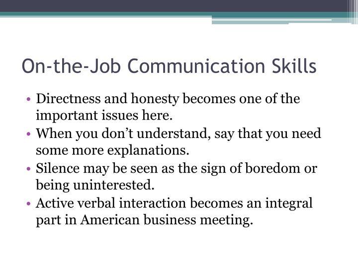 On-the-Job Communication Skills