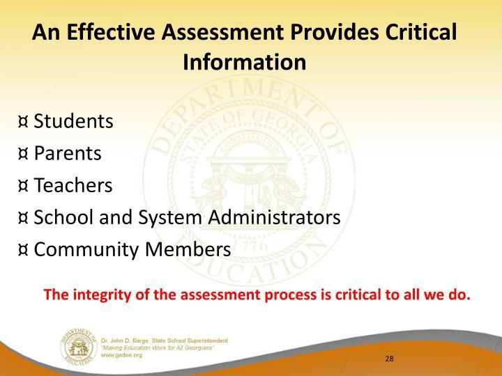 An Effective Assessment Provides Critical Information