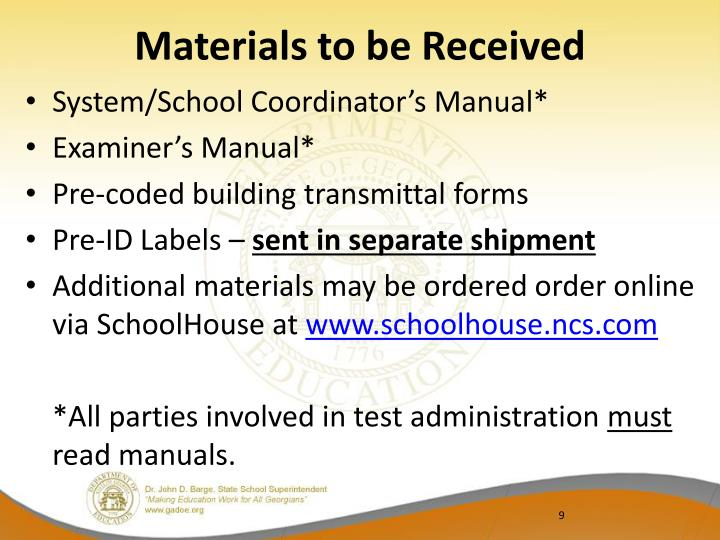 Materials to be Received