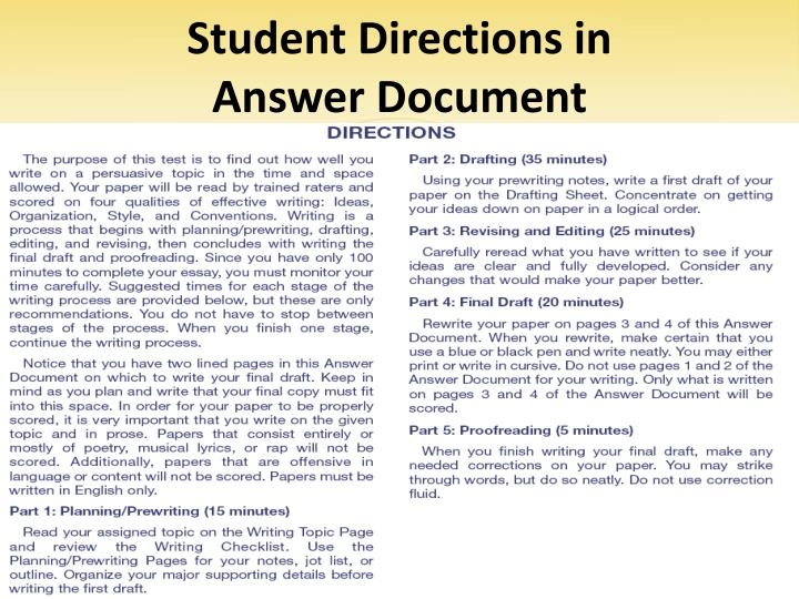 Student Directions in