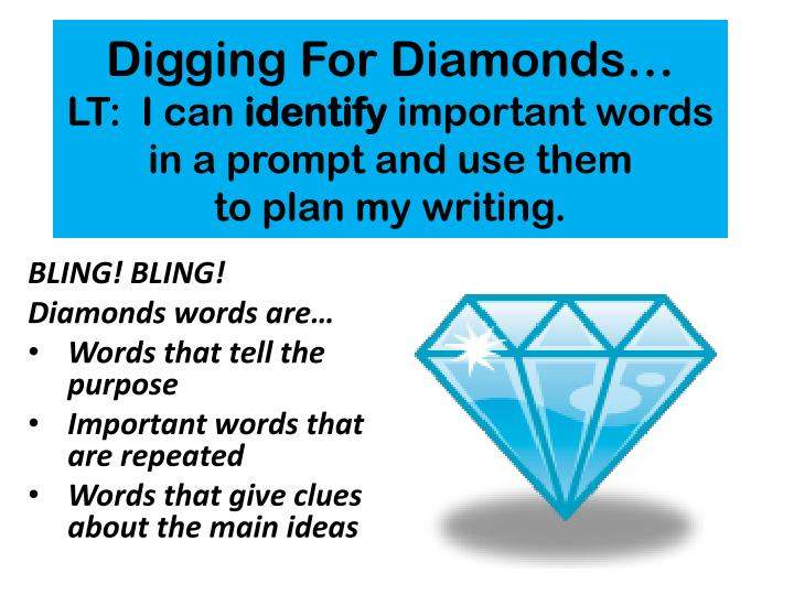 digging for diamonds lt i can identify important words in a prompt and use them to plan my writing