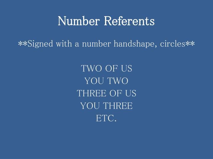 Number Referents
