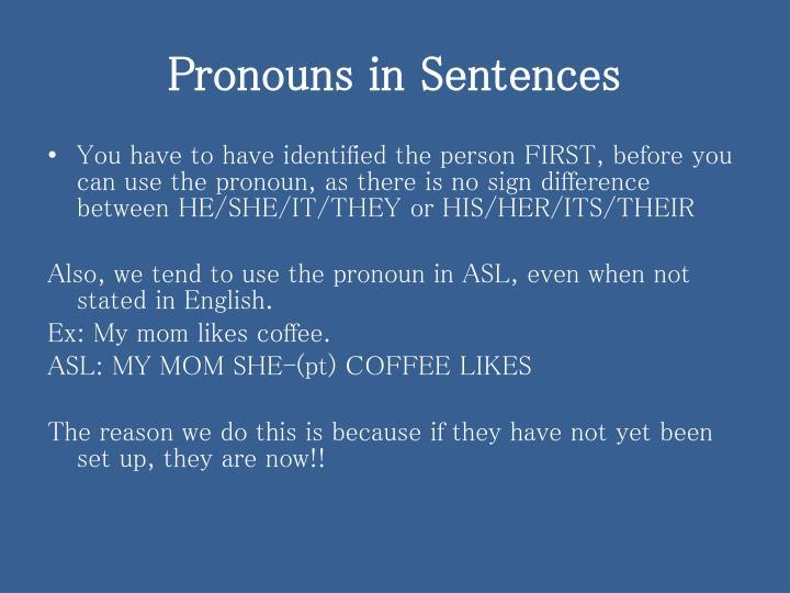 Pronouns in sentences