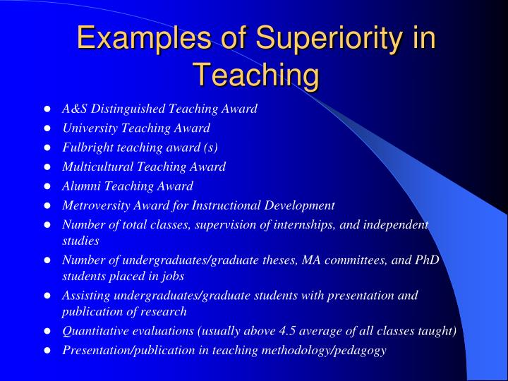 Examples of Superiority in Teaching