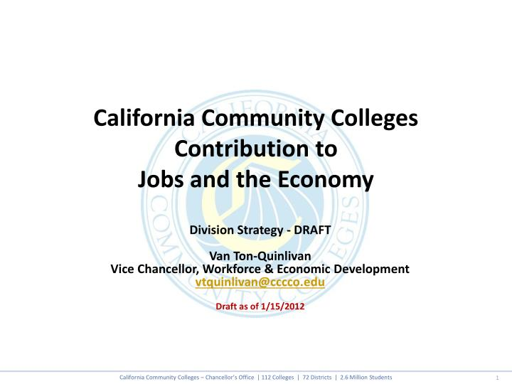 California community colleges contribution to jobs and the economy