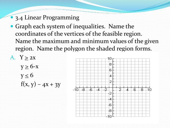 3.4 Linear Programming