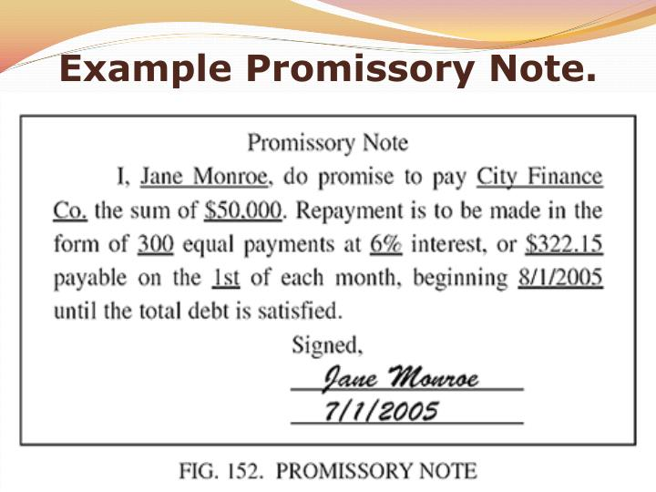 Example Promissory Note.  Example Of Promissory Note