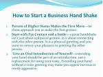 how to start a business hand shake