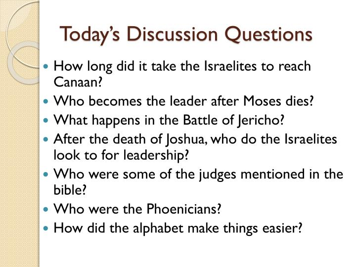 Today s discussion questions