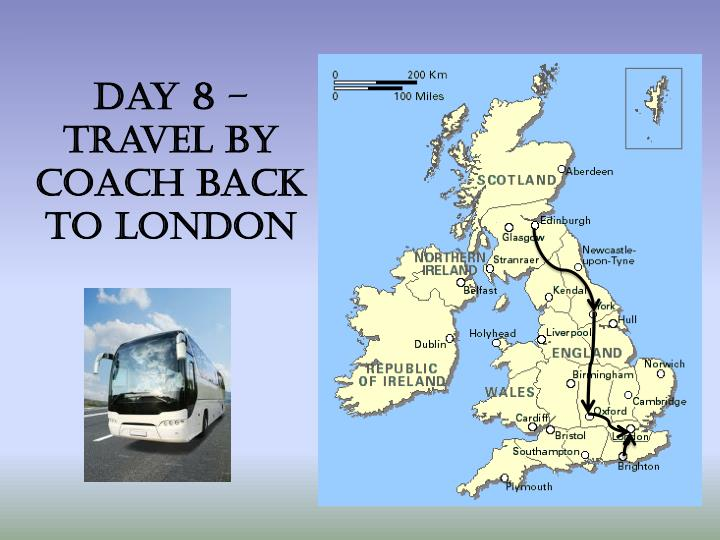 Day 8 – travel by Coach back to