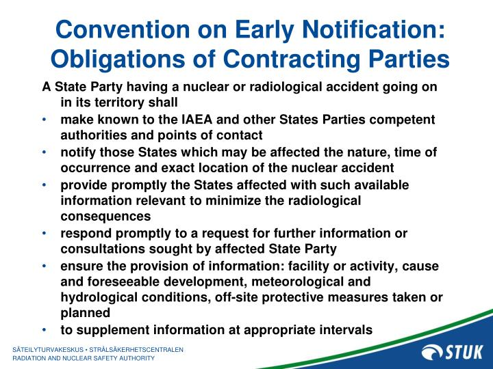 Convention on Early Notification: Obligations of Contracting Parties