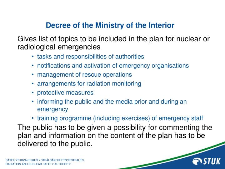 Decree of the Ministry of the Interior