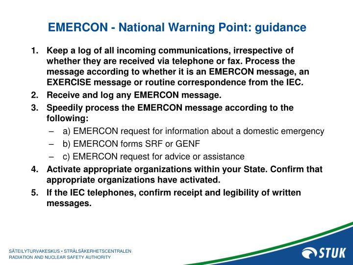 EMERCON - National Warning Point: guidance
