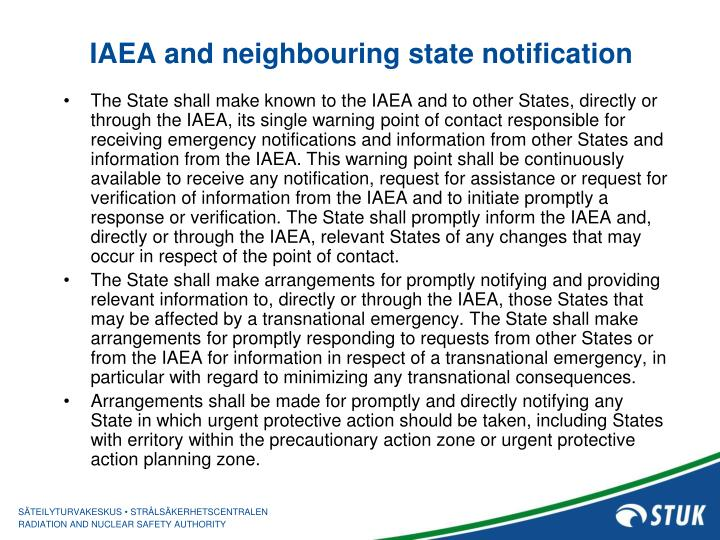 IAEA and neighbouring state notification