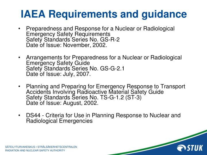 IAEA Requirements and guidance