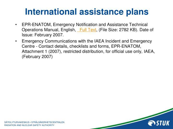 International assistance plans