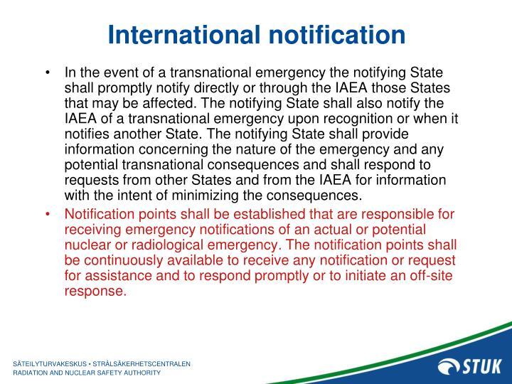 International notification