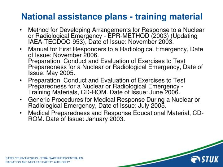 National assistance plans - training material
