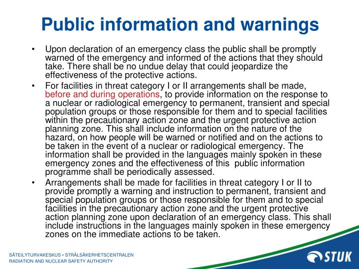 Public information and warnings