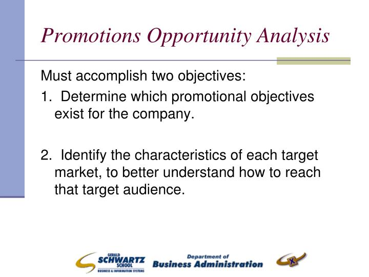 promotional objectives