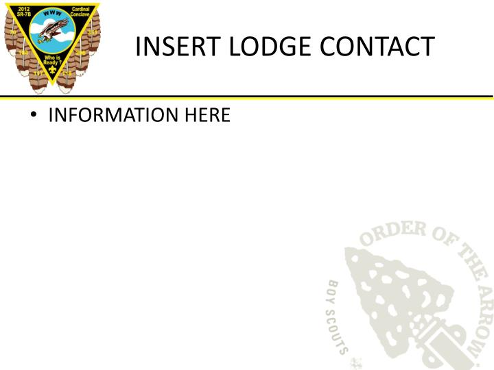 INSERT LODGE CONTACT