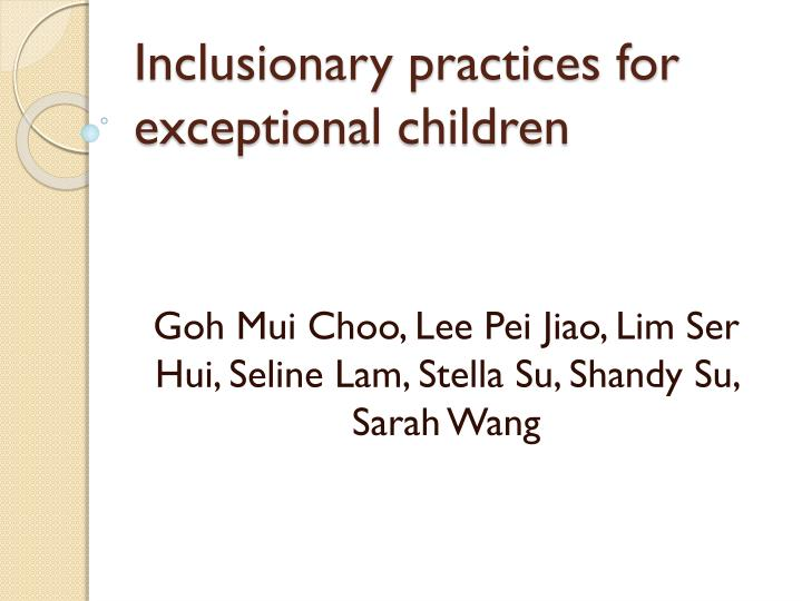inclusionary practices for exceptional children n.