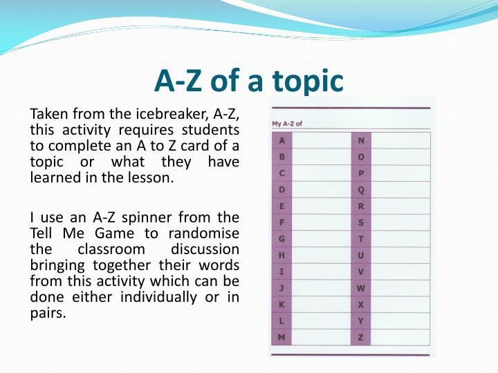 A-Z of a topic