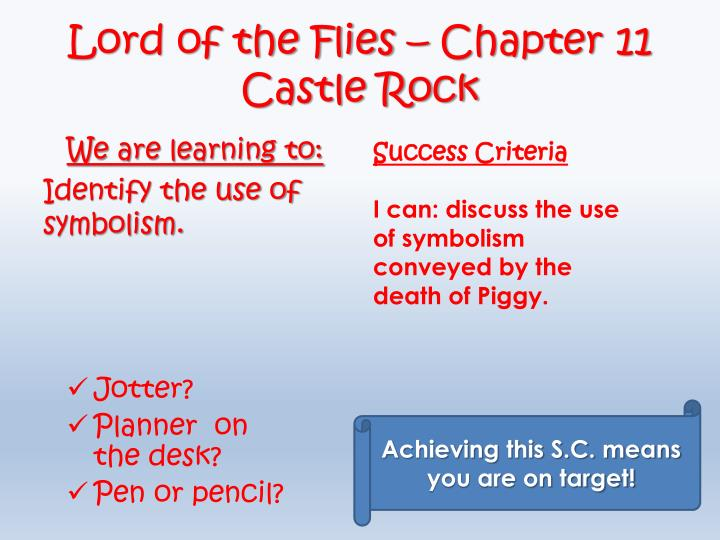 Lord of the flies chapter 11 castle rock