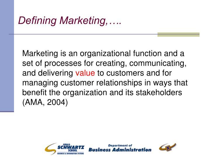 Defining Marketing,….