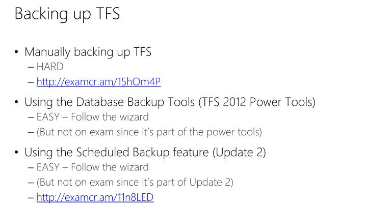 Backing up TFS