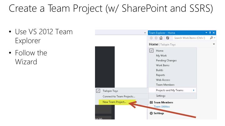 Create a Team Project (w/ SharePoint and SSRS)