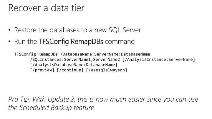 Recover a data tier