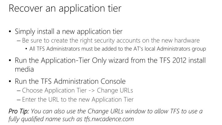 Recover an application tier