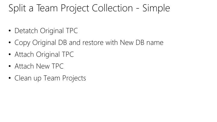 Split a Team Project Collection - Simple