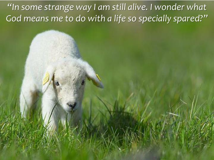 """""""In some strange way I am still alive. I wonder what God means me to do with a life so specially spared?"""""""