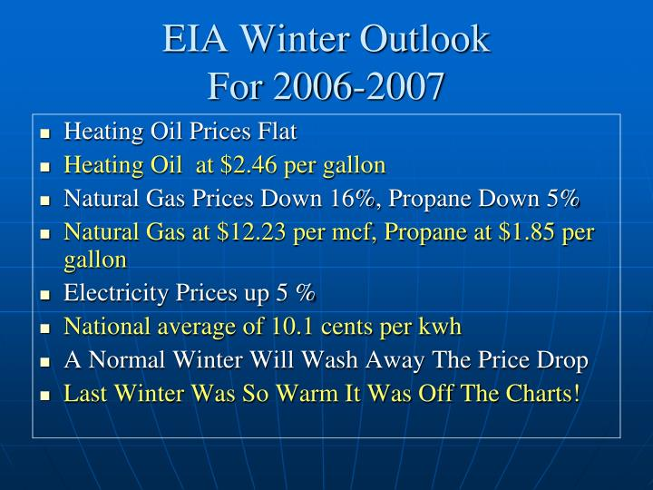 Eia winter outlook for 2006 2007