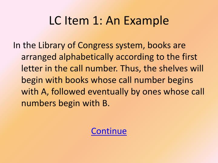 LC Item 1: An Example