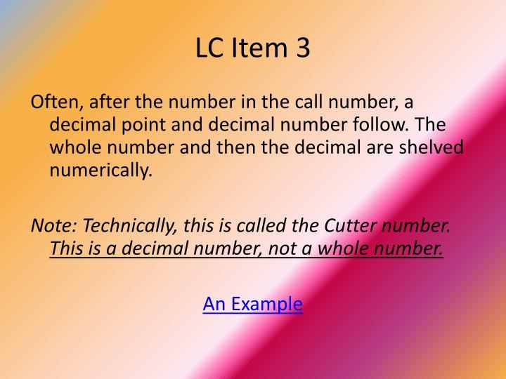 LC Item 3