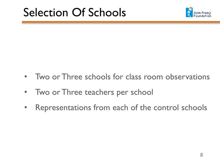 Two or Three schools for class room observations