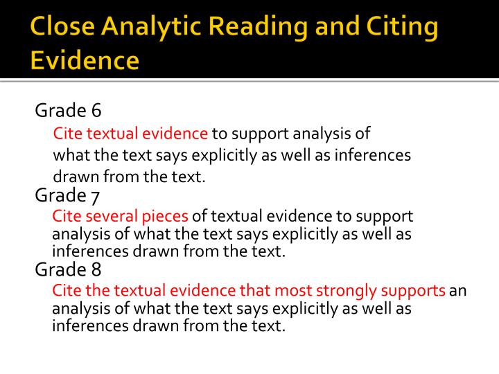 Close Analytic Reading and Citing Evidence