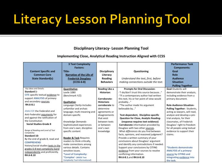 Literacy Lesson Planning Tool