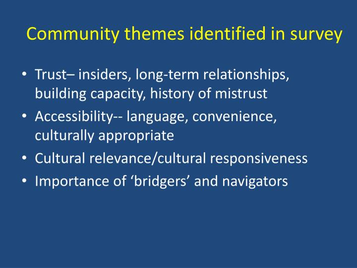Community themes identified in survey
