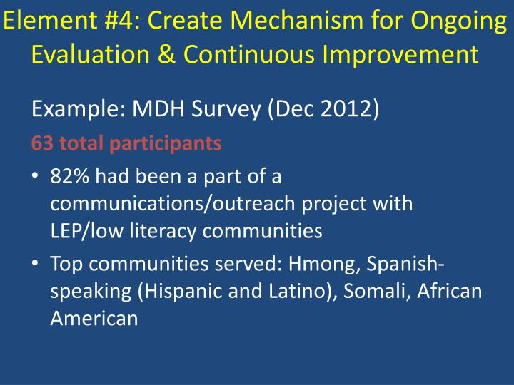 Element #4: Create Mechanism for Ongoing Evaluation & Continuous Improvement