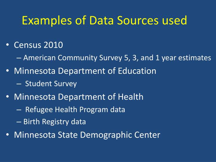 Examples of Data Sources used