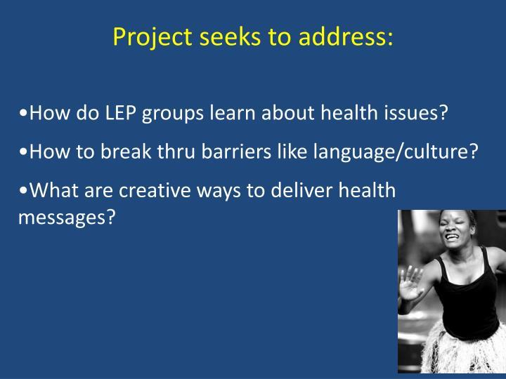 Project seeks to address: